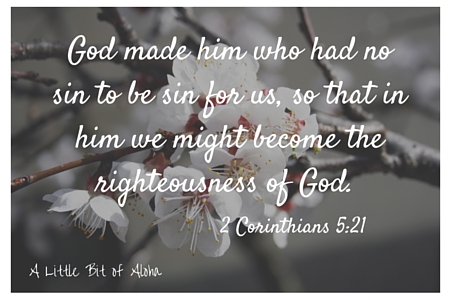 God made him who knew no sin to be sin for us, so that in him we might become the righteousness of God.